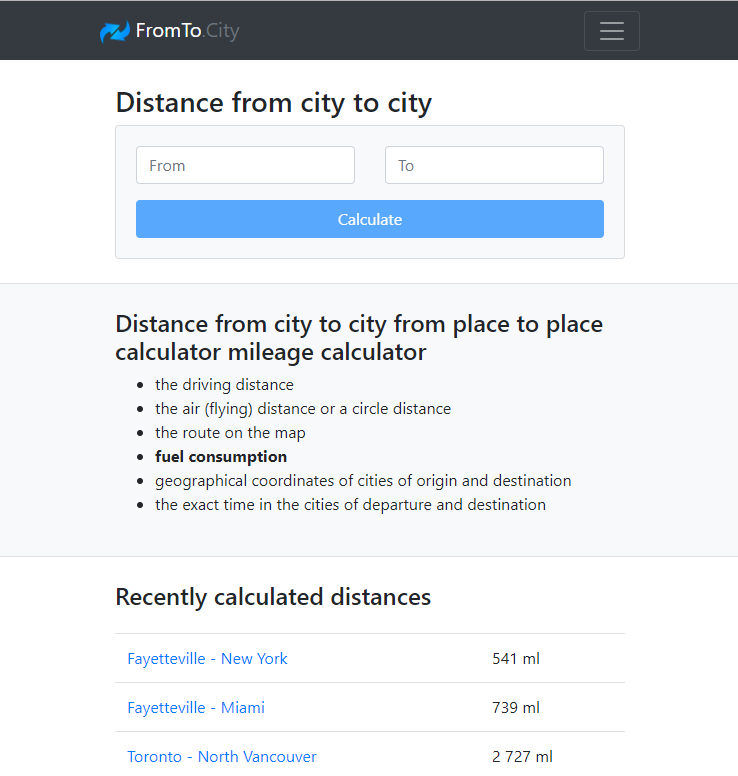 Distance calculator tool, distance between cities.