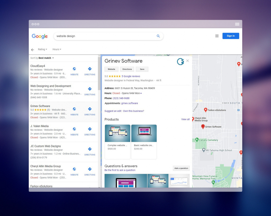 Presence of your website/business in Google Maps search results.